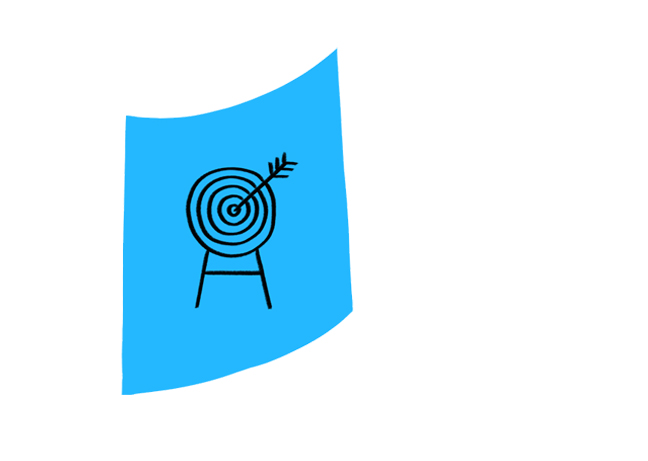 Blue icon with drawing of an arrow in an archery target