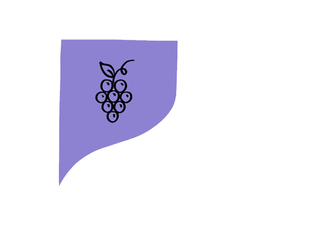 """alt=""""Purple icon with drawing of a cluster of grapes"""""""
