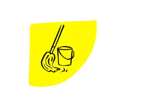 Yellow icon with drawing of a mop and bucket