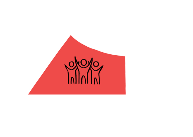 Red icon with drawing of a group of people