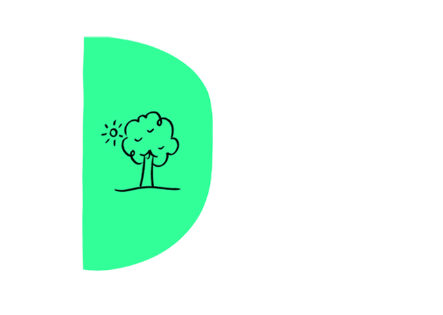 Green icon with drawing of a tree and sun