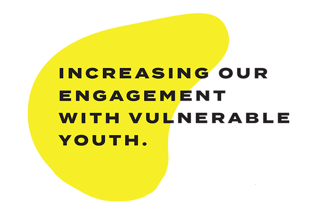 """Yellow blurb saying """"Increasing our engagement with vulnerable youth"""""""