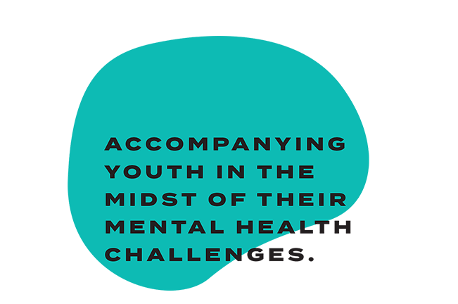 """Teal blurb saying """"Accompanying youth in the midst of their mental health challenges"""""""