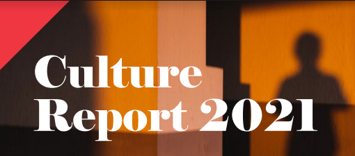 """Orange background with shadow of a person with text saying """"Culture Report 2021"""""""