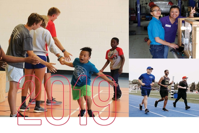 """The Shop, Young Parents and summer camp photo collage with """"2019"""" in bolded red letters"""