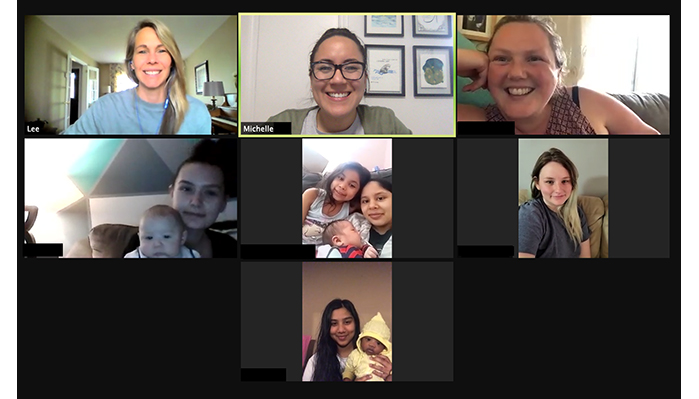 Zoom call screenshot with YU staff, young moms and their babies