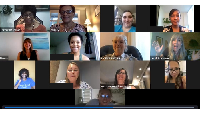 Screen shot of young moms virtual gathering on Zoom