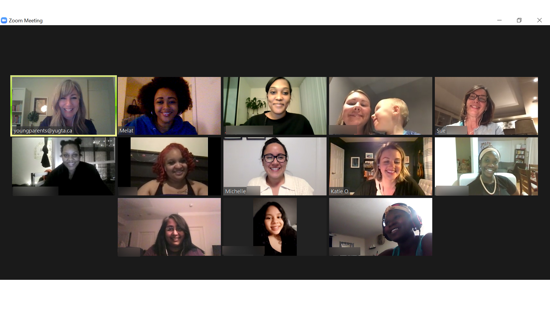 Young Parents zoom video call with moms and YU staff