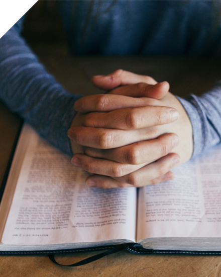 Folded hands on top of an open bible